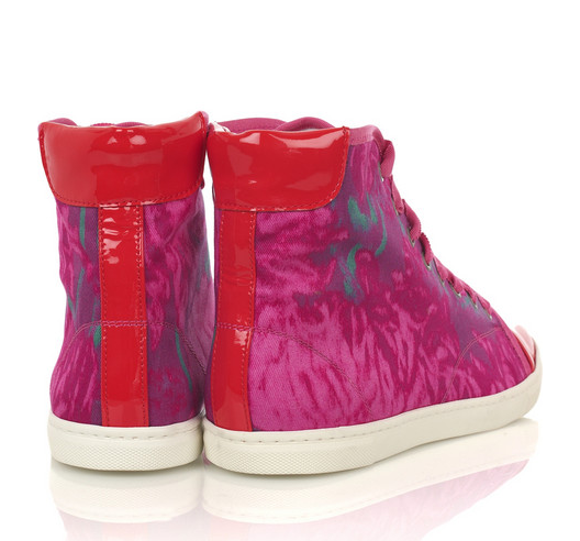 Loving the printed sneakers here is a floral canvas design by