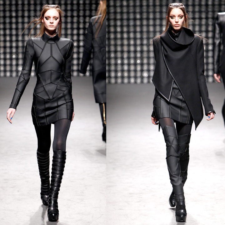 db0a73e5584 Two very wearable designs by Pugh. Above left is a kick-ass rendition of  the LBD. Above right shows the soft silhouette of the jacket paired with  the ...